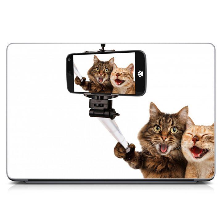 Виниловая наклейка для ноута Селфи котиков Матовая