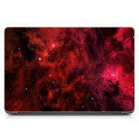 """Универсальная наклейка на ноутбук 15.6""""-13.3"""" Космос, красный Матовый 380х250 мм"""