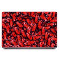 """Универсальная наклейка на ноутбук 15.6""""-13.3"""" Красные бабочки Матовая 380х250 мм"""