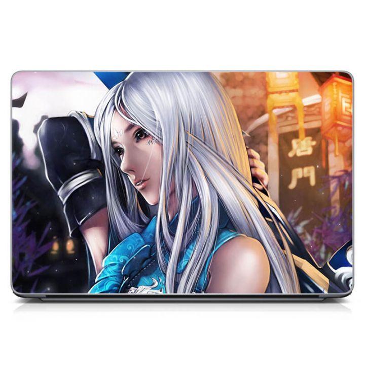 Виниловый стикер на ноутбук Блондинка, фентези Матовый
