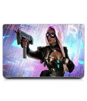 Виниловая наклейка для ноута Girl with gun Матовая