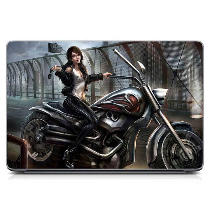 Виниловый стикер на ноутбук Девушка на мотоцикле Матовый