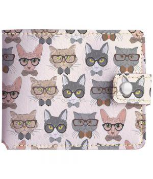 Кошелёк v.1.0. 193 Коты в очках фон (эко-кожа)