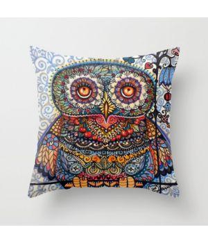 авторская подушка Magic graphic owl painting