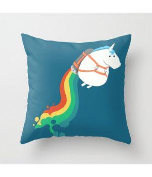 Подушка на диван Fat Unicorn on Rainbow Jetpack