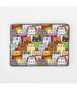 Стильный чехол для ноутбука Цветные котики