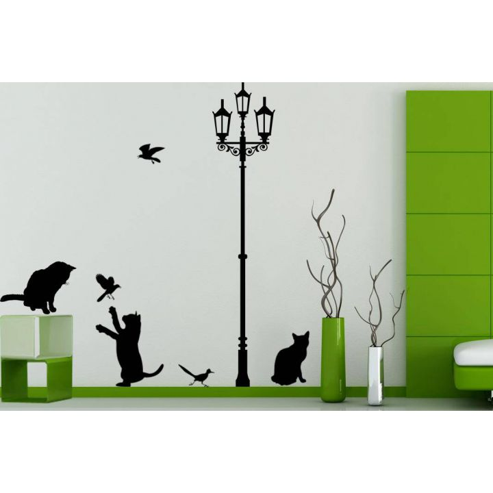 Наклейка на стену Кошачья жизнь, 50х150 см, Черная