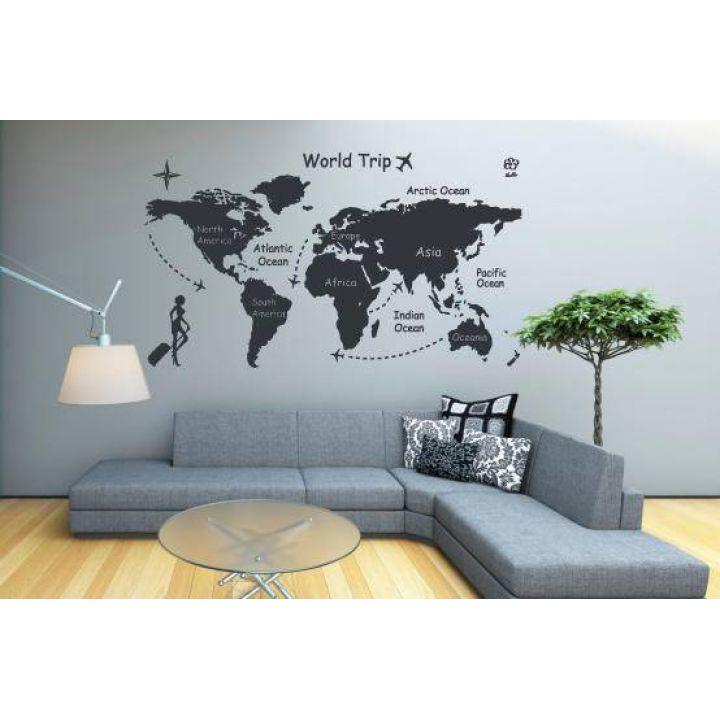 Интерьерная виниловая наклейка на стену Карта путешествий