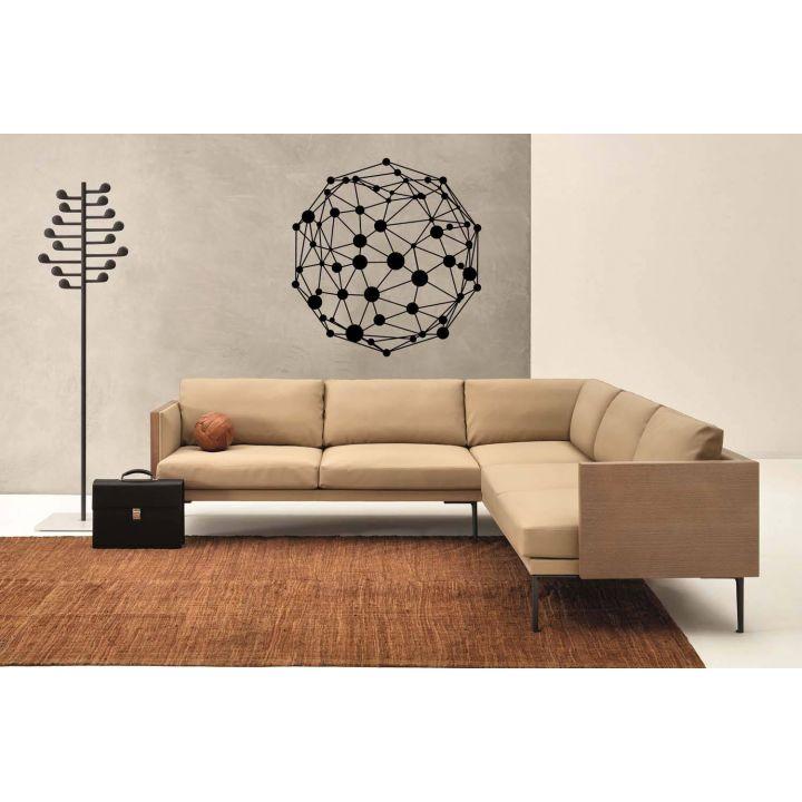 Кристаллическая решетка - абстракция, 50х50 см, Черная