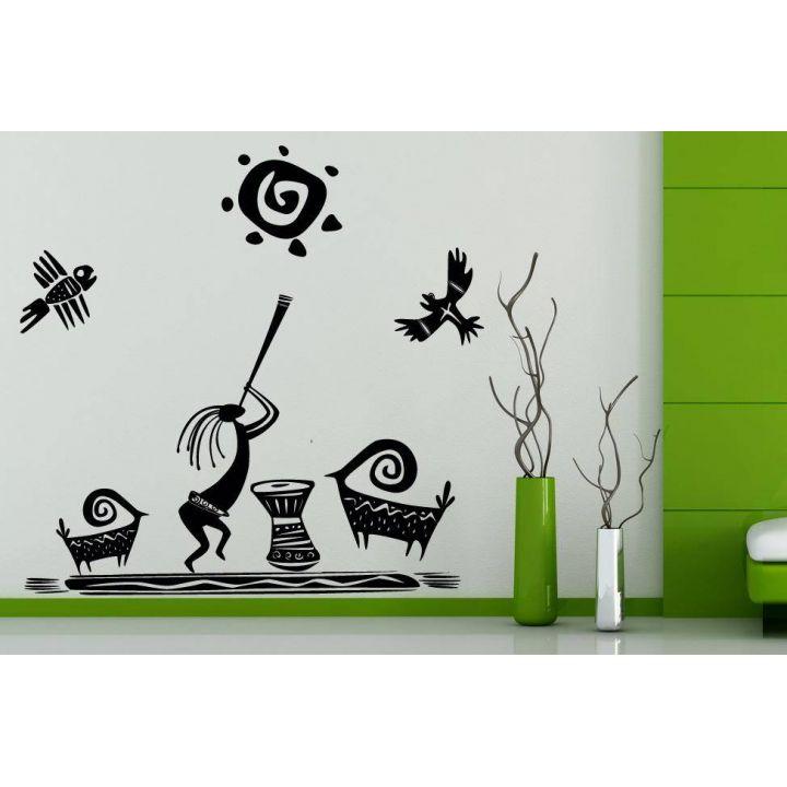 Черные наклейки на стену Этно композиция, 55х96 см, Черная