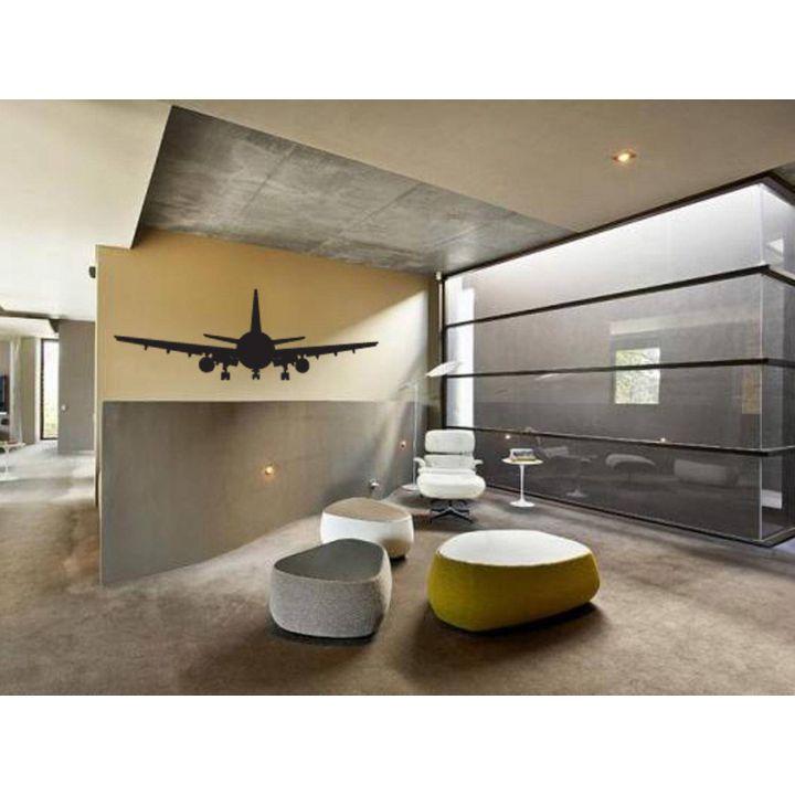 Интерьерная виниловая наклейка на стену Самолет, 96х35 см Черная Матовая
