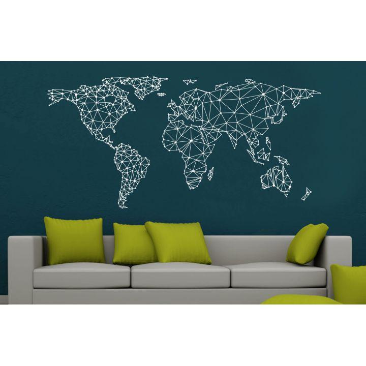 Інтер'єрна наклейка-стікер на стіну, скло Карта світу - орігамі