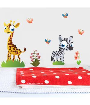 """Интерьерная наклейка """"Жираф и зебра"""""""