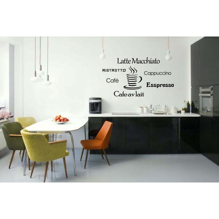 Виниловый стикер на стену Разновидности кофе