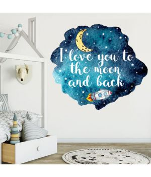 Интерьерная наклейка I love you to the moon and back, 66716