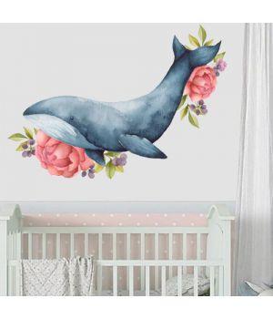 Интерьерная наклейка Акварельный кит, 66718