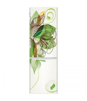Наклейка на холодильник - Цветок и листва