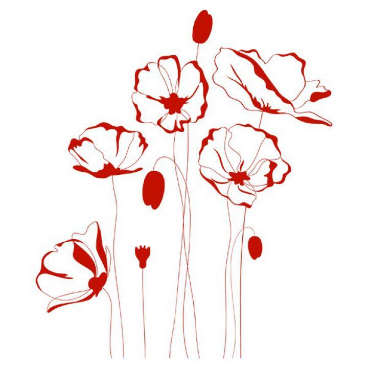 Інтер'єрна Наклейка Glozis Red Flowers