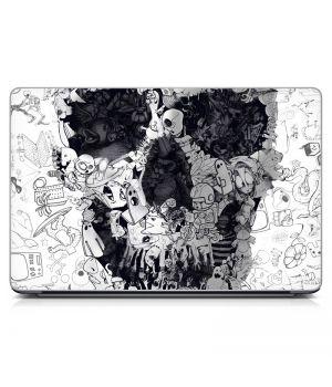 "Універсальна наклейка для ноутбука 15.6""-13.3"" Doodle Skull 380х250 мм"