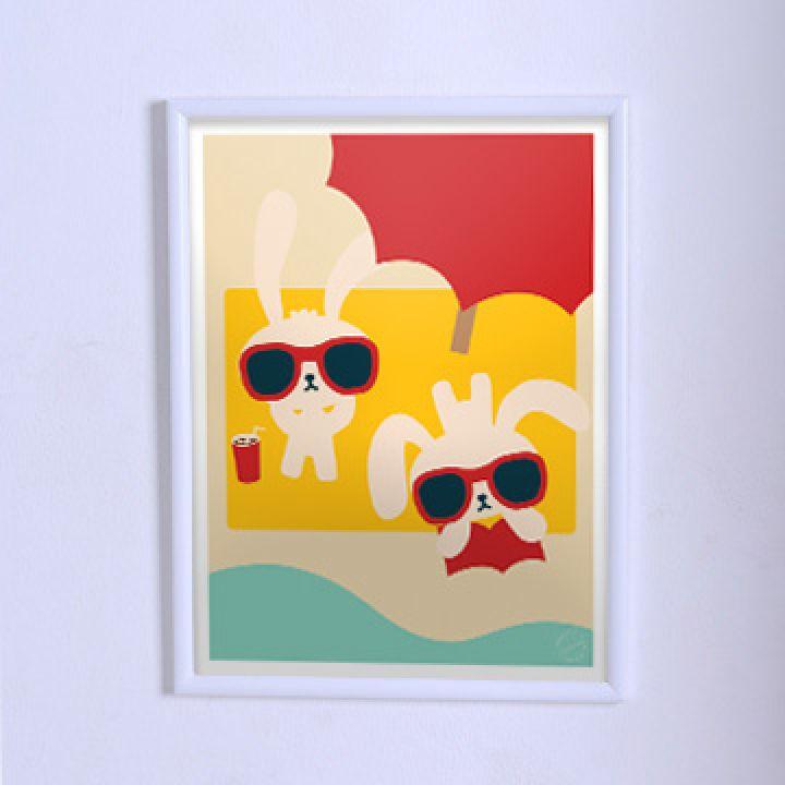 Постер для дитячої Зайчики на відпочинку
