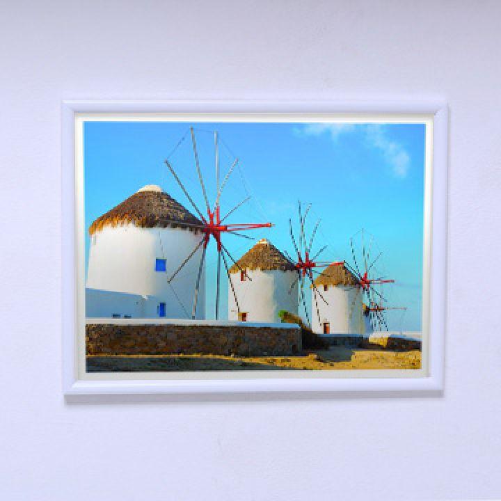 Красивый постер Ветряные мельницы Санторини