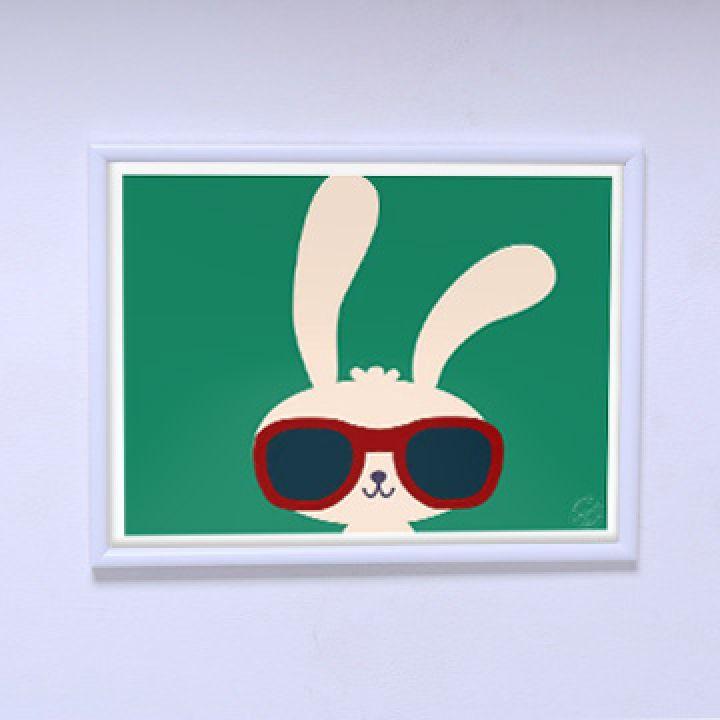 Современный постер Модный зайчик