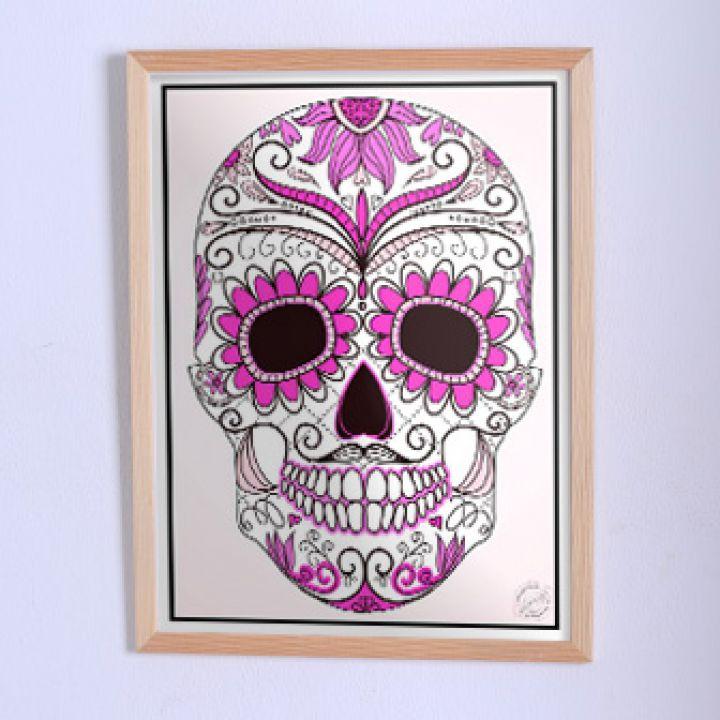 Оригинальный постер Череп в цветочках коричнево-розовый
