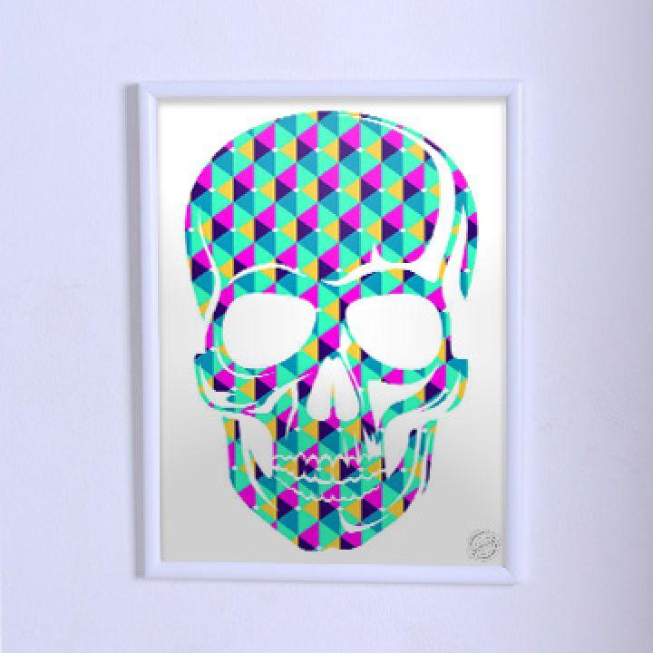 Оригинальный постер Череп с геометрическим узором