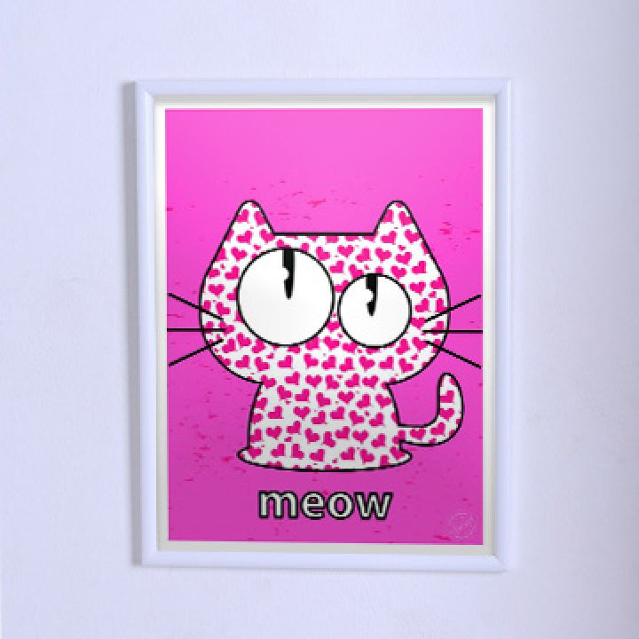 Оригинальный постер Розовый котик