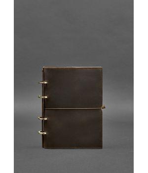 Шкіряний блокнот на кільцях (софт-бук) 9.0 в м'якій коричневій обкладинці