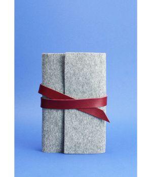 Фетровий жіночий блокнот (Софт-бук) 1.0 Фетр з шкіряними вставками бордовими