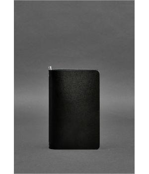 Угольно-черный кожаный блокнот (софт-бук) 8.0 на резинке