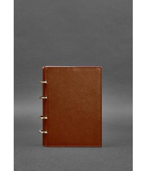 Кожаный блокнот на кольцах (софт-бук) 9.0 с твердой коричневой обложкой