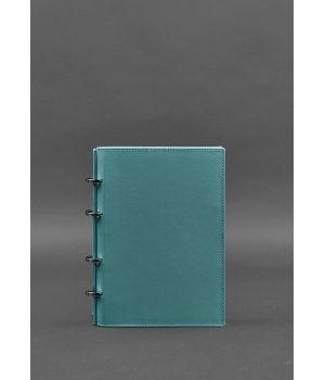 Кожаный блокнот на кольцах (софт-бук) 9.0 с твердой бирюзовой обложкой