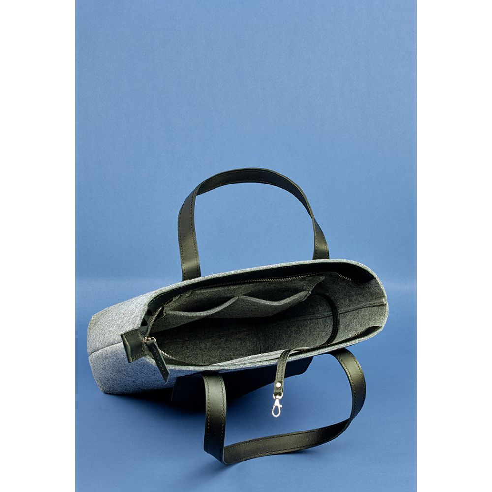 cfbb7c0b84b4 Сумка шоппер D.D. фетр + кожа графит - Женские кожаные сумки купить ...