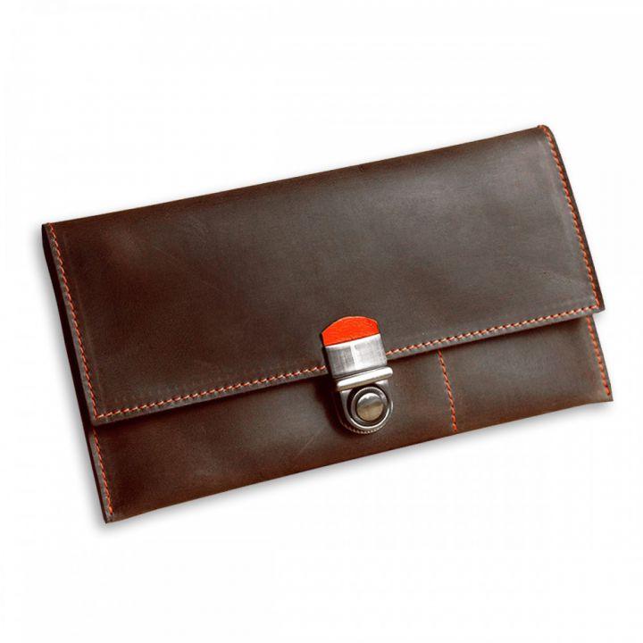 Тревел-кейс кожаный для документов 2.1 Орех-апельсин