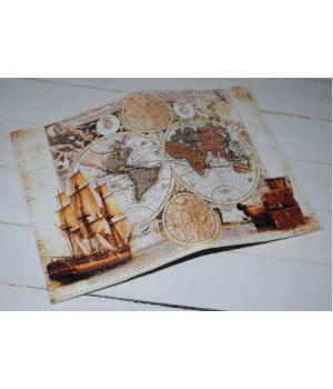 Винтажная обложка на паспорт -Карта-