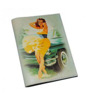 Женская обложка для паспорта -Автоледи Pin Up-