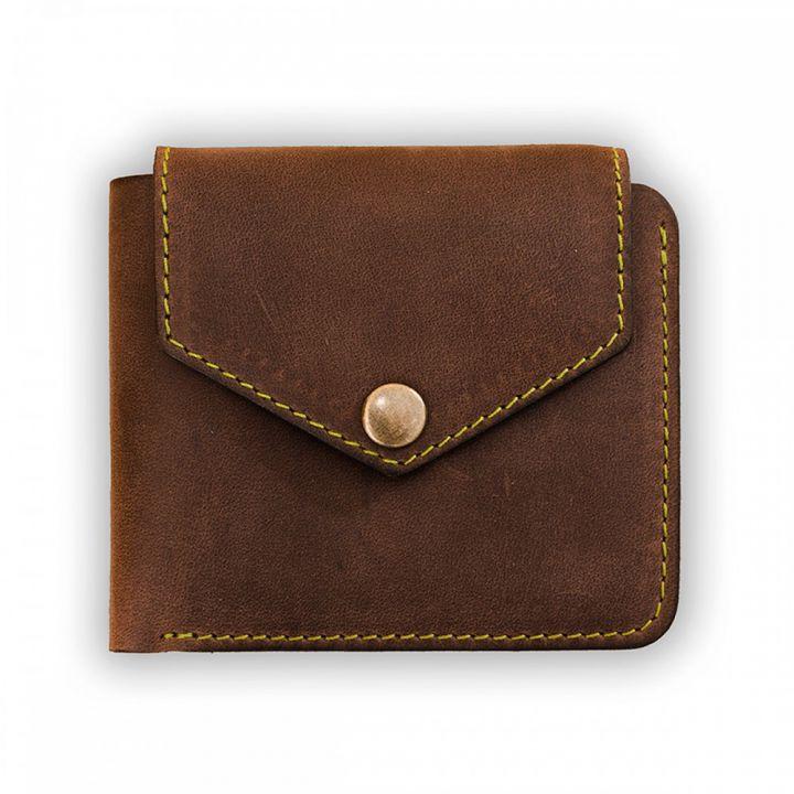 Мужское кожаное портмоне 4.2 (4 кармана, кнопка) Орех-фисташка
