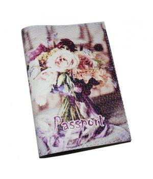 Женская обложка для паспорта с цветами -Букет-