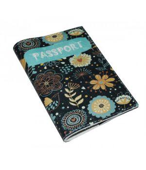 Жіноча обкладинка для паспорта -Бірюзові квіти-