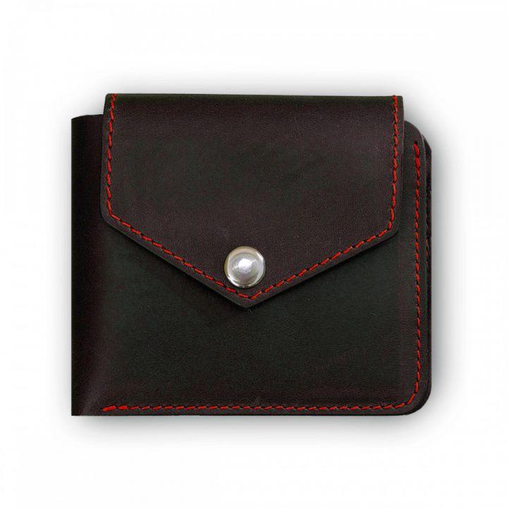 Портмоне зі шкіри 4.2 (4 кишені, кнопка) Графіт-полуниця
