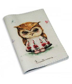 Женская обложка для паспорта -Любвеобильная сова-
