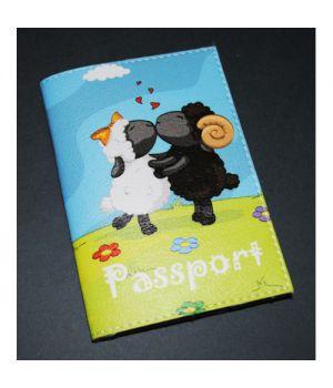 Обложка на паспорт -Влюбленные овечки-
