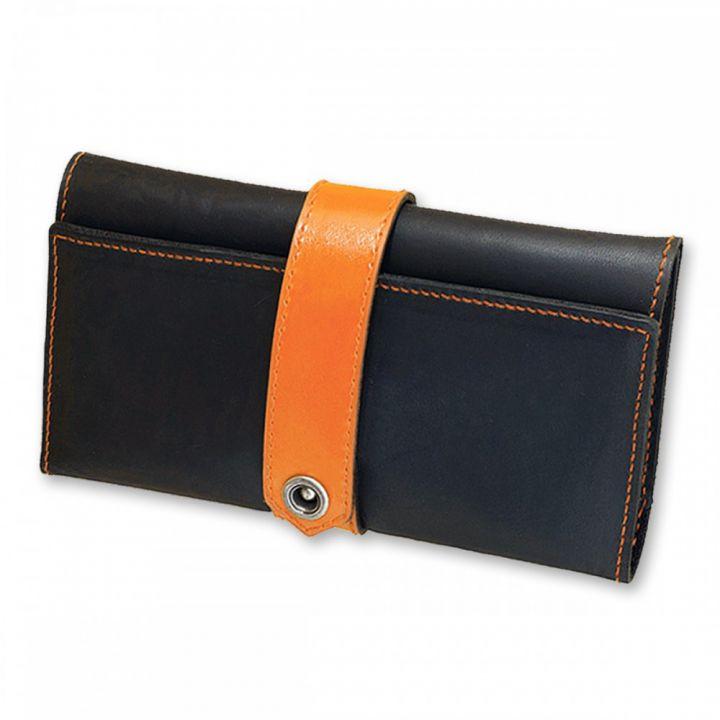 Мужское портмоне из кожи 3.0 Графит-апельсин