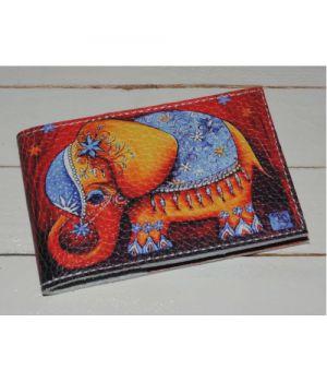 Кожаная визитница -Слон-