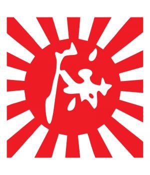 Наклейка на авто - Японский флаг v2