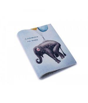 Шкіряна обкладинка для паспорта -Тиняюсь по світу-