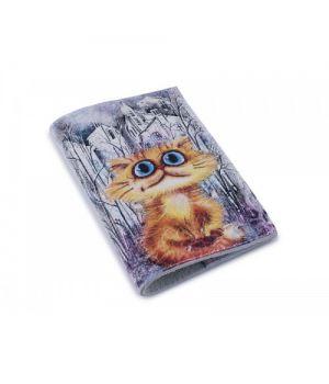 Шкіряна обкладинка для паспорта - Рудий кіт у місті-