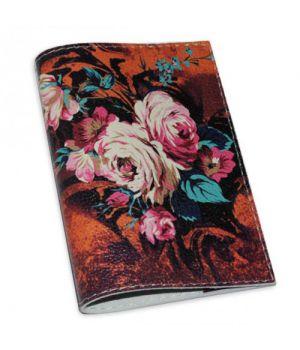 Шкіряна жіноча обкладинка для паспорта з квітами -Осінній букет-